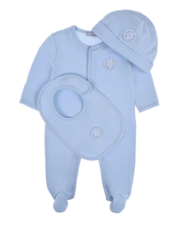 Купить Подарочный набор из трех деталей Dolce&Gabbana детский, Голубой, 100%хлопок, 94%хлопок+6%эластан