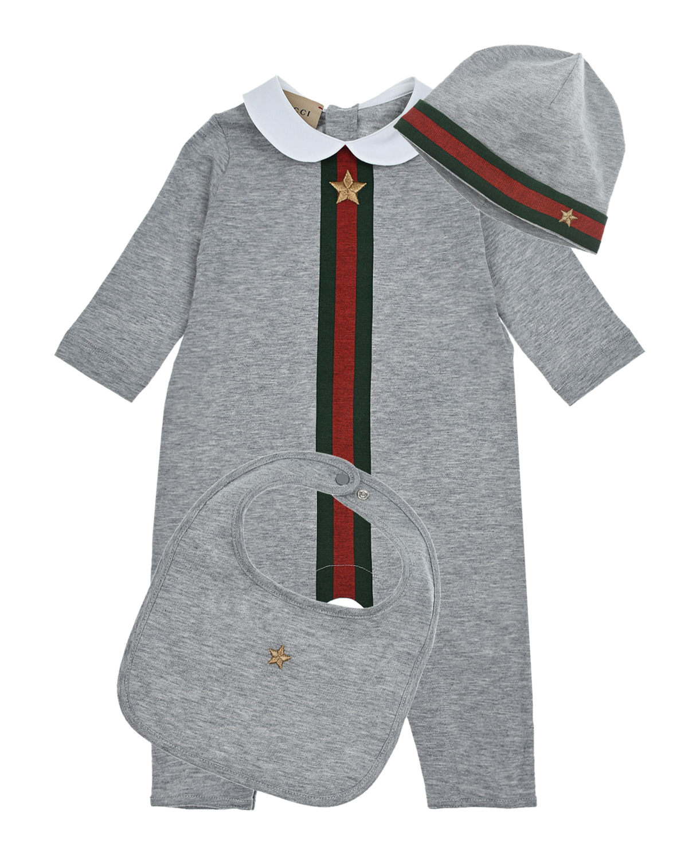 Купить Серый подарочный комплект: комбинезон, шапка и слюнявчик GUCCI детский, 100%хлопок, 96%хлопок+4%эластан, 55%полиамид+45%металлизир.волокно