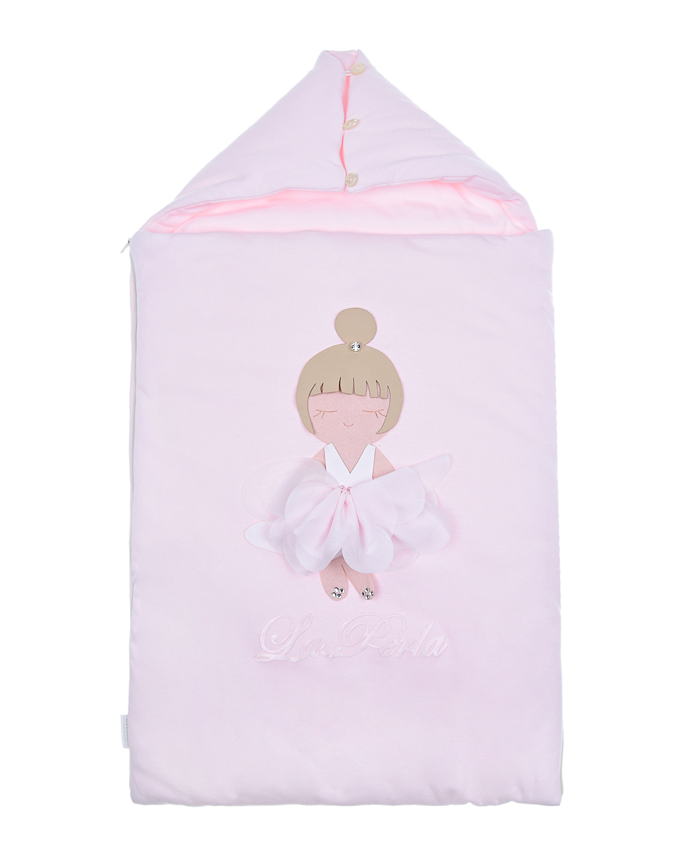 Купить Розовый конверт с аппликацией Балерина La Perla детский, 100%хлопок