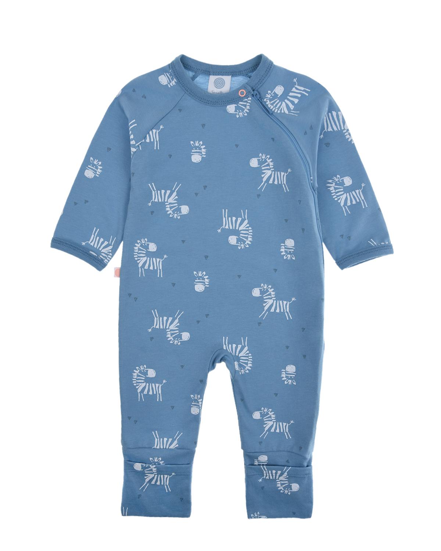 Купить Комбинезон с принтом зебры Sanetta детский, Синий, 100%хлопок