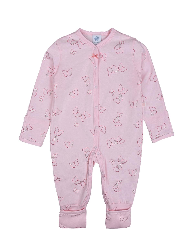 Купить Розовый комбинезон с принтом бабочки Sanetta детский, 100%хлопок