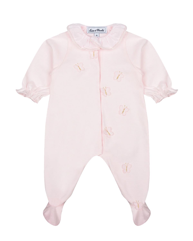 Купить Розовый комбинезон с аппликацией бабочки Tartine et Chocolat детский, 100%хлопок