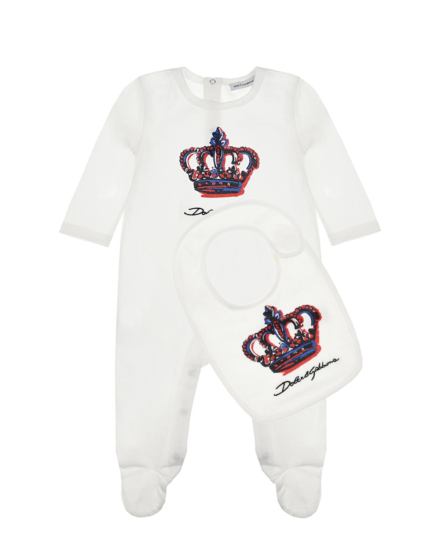 Купить Подарочный набор с принтом корона Dolce&Gabbana детский, Белый, 100%вискоза, 100%хлопок. 100%вискоза, 100%хлопок