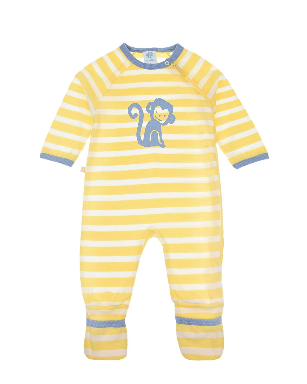 """Желтый комбинезон с принтом """"обезьяна"""" Sanetta детский, 100%хлопок  - купить со скидкой"""