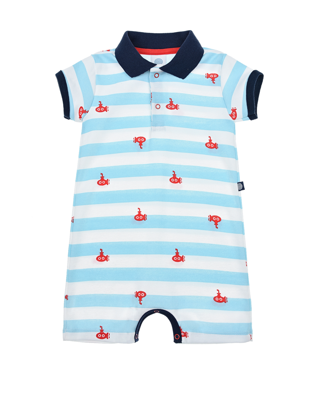Купить Песочник с принтом красные субмарины Sanetta детский, Голубой, 100%хлопок