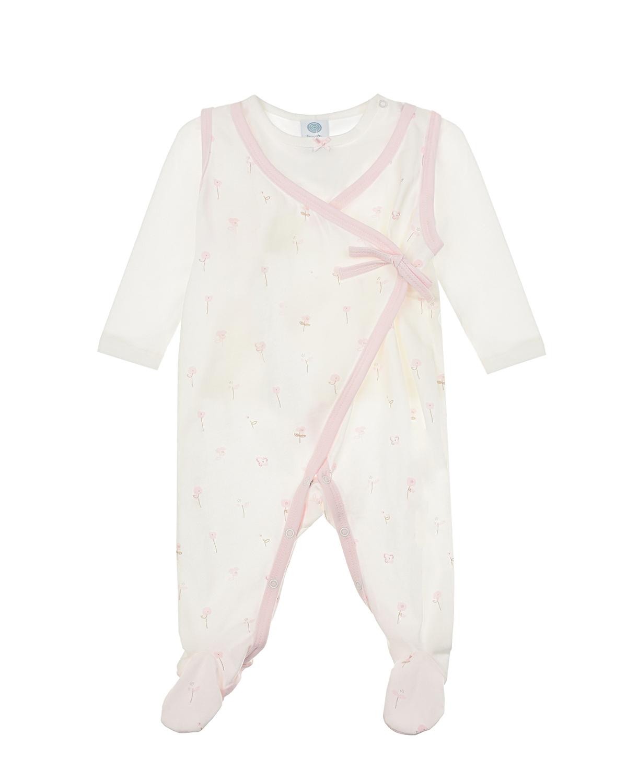 Купить Комплект с цветочным принтом (комбинезон + толстовка) Sanetta детский, Белый, 100%хлопок