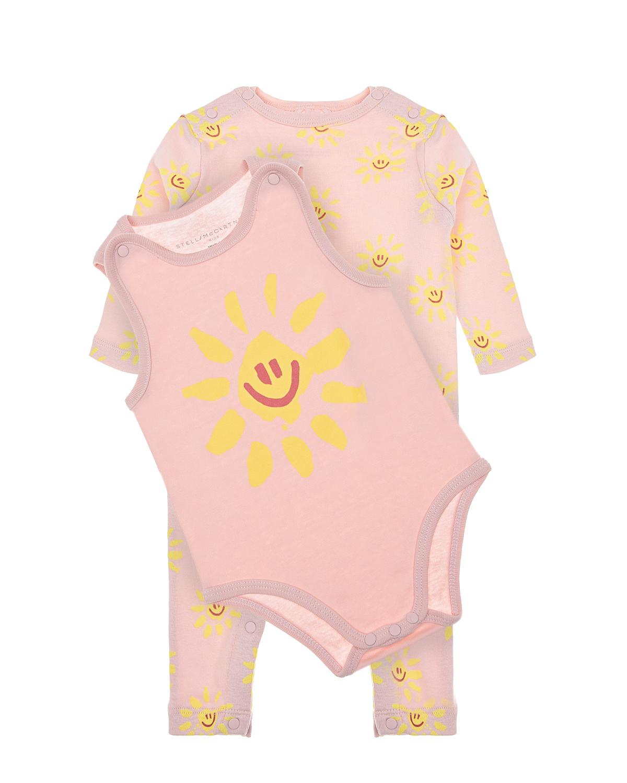 Купить Набор подарочный: боди и комбинезон, розовый Stella McCartney детский, Розовый, 100% хлопок