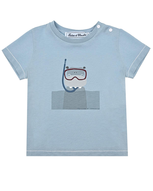 Купить Голубая футболка с принтом водолаз Tartine et Chocolat детская, Голубой, 100% хлопок