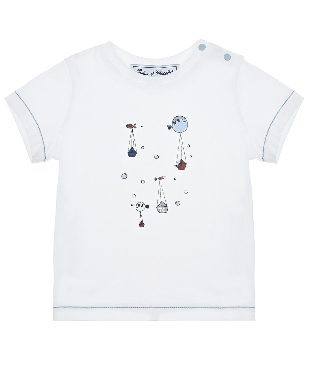 Купить Белая футболка с принтом рыбы Tartine et Chocolat детская, Белый, 100% хлопок