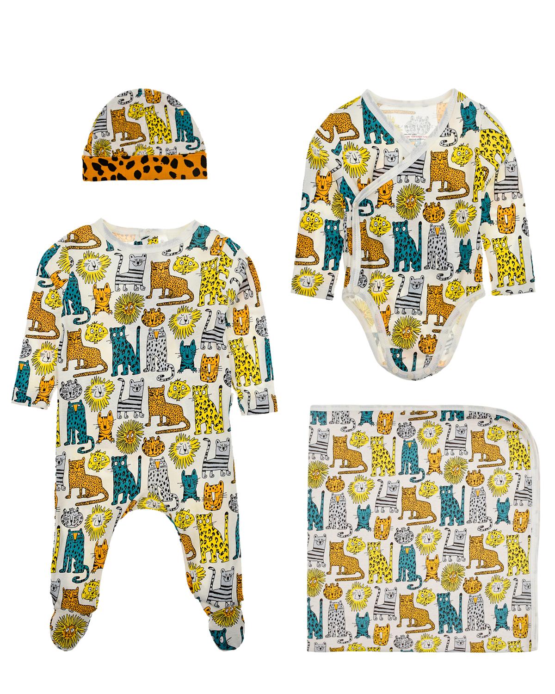 Купить Подарочный набор (комбинезон, боди, шапочка и плед) Stella McCartney детский, Мультиколор, 100%хлопок