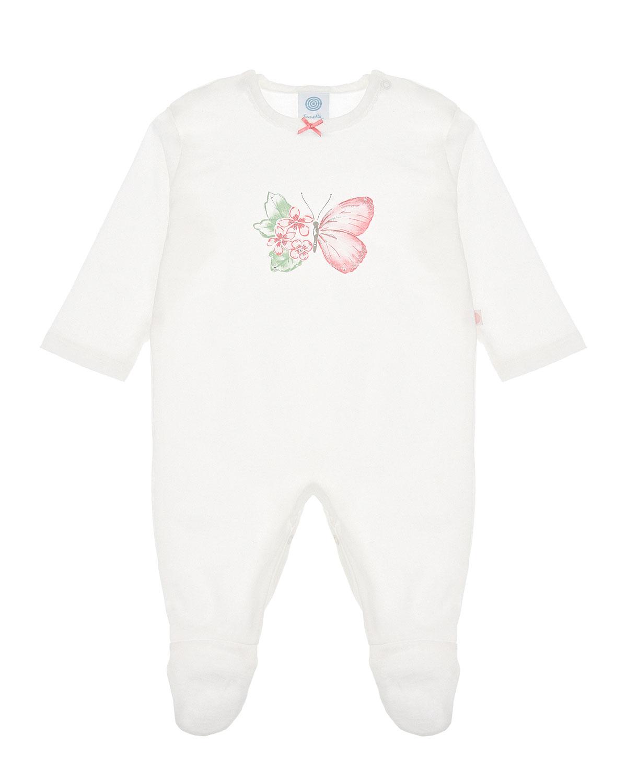 Купить Комбинезон с принтом Бабочка Sanetta детский, Белый, 100%хлопок