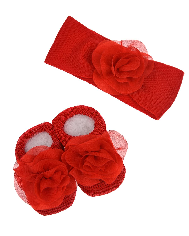 Купить Подарочный набор из красных пинеток и повязки La Perla детский, Красный, 70%хлопок+27%полиамид+3%эластан, 100%хлопок
