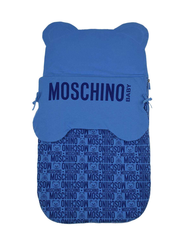 Голубой конверт со сплошным принтом Moschino детский голубого цвета