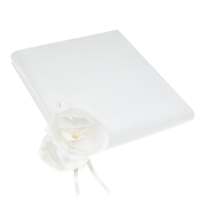 Белое одеяло с розой, 80x75 см La Perla детское розового цвета