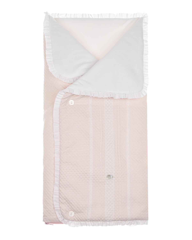 Розовый конверт с белой рюшей Paz Rodriguez детский розового цвета