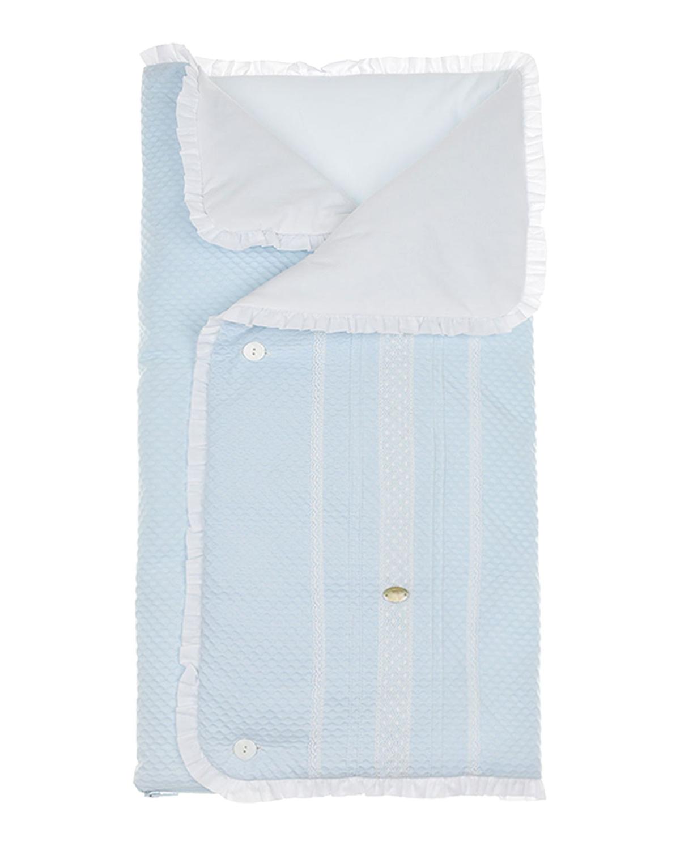 Голубой конверт с оборками Paz Rodriguez детский голубого цвета