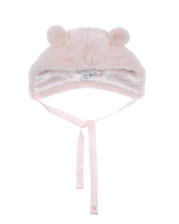 Купить Шапка Dior детская, Розовый, мех кролика, 100%шелк, 100%полиэстер