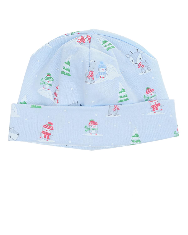 Голубая шапка с новогодним принтом Kissy Kissy детская
