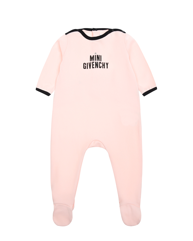 Комбинезон GivenchyКомбинезоны и полукомбинезоны<br>Розовый комбинезон Givenchy из хлопкового трикотажа. Модель с ножками с круглым вырезом и длинными рукавами. Комбинезон декорирован контрастным кантом и надписью «Mini Givenchy» с серой звездочкой. Застегивается на кнопки на спине и в плечевом шве.