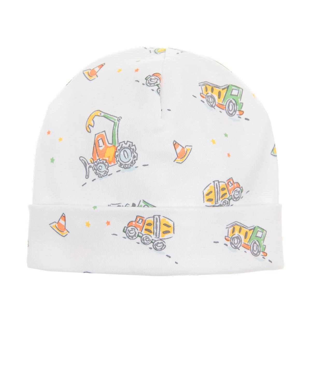 Шапка с отворотомШапки<br>Белая шапка Kissy Kissy из мягкого хлопкового трикотажа. Модель с отворотом, декорирована сплошным принтом с изображением строительной техники.