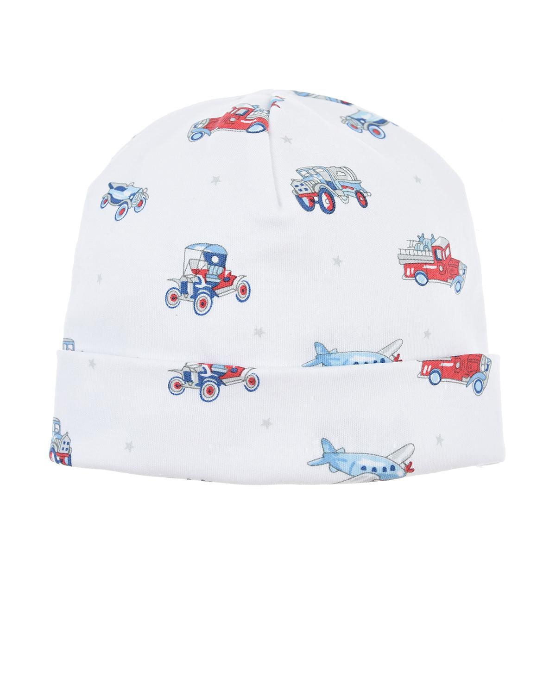 Шапка с отворотом Kissy KissyШапки<br>Белая шапка Kissy Kissy из мягкого хлопкового трикотажа. Модель с отворотом, декорирована сплошным принтом с изображением автомобилей и самолетов.