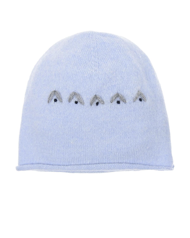 Голубая шапка шерсти и кашемираШапки<br>Голубая шапка Per te из шерсти с добавлением кашемира, декорирована вышивкой.