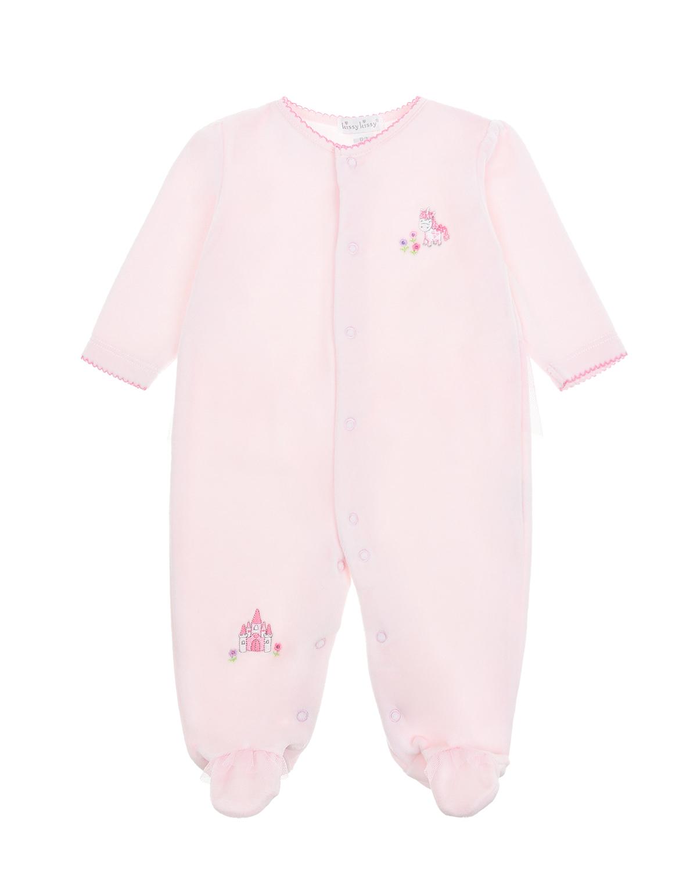 """Розовый комбинезон с вышивкой """"единорог и замок"""" Kissy Kissy детский фото"""