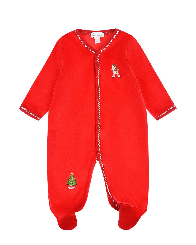 Красный велюровый комбинезон с вышивкой Kissy Kissy детский фото