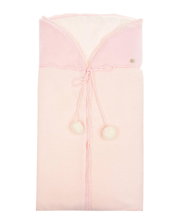 Розовый вязаный комбинезон с помпонами Paz Rodriguez  - купить со скидкой