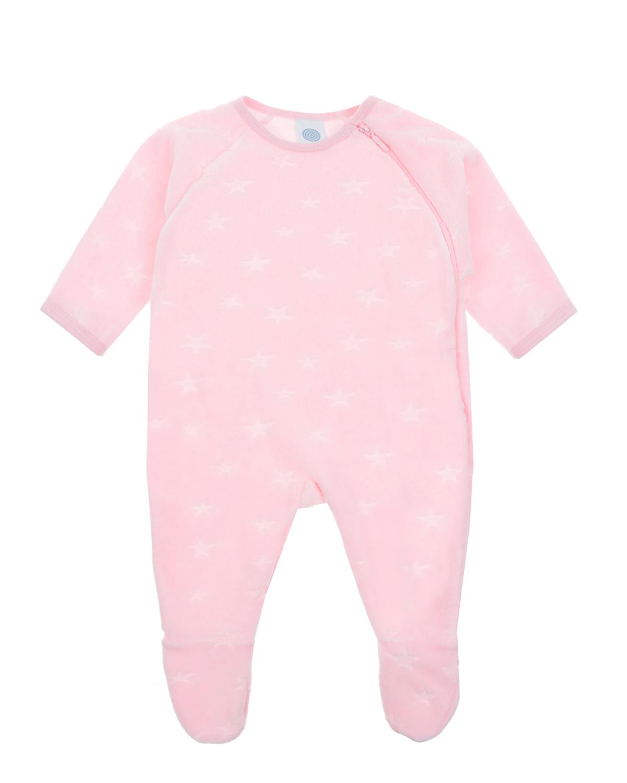 Розовый комбинезон из велюра со звездами Sanetta детский фото