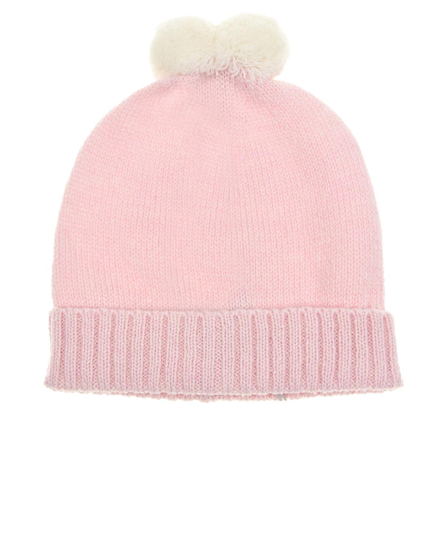 Купить Розовая шапка из шерсти и кашемира с помпоном Tomax детская, Розовый, 10%кашемир+90%шерсть мериносов