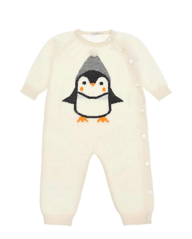 """Кремовый комбинезон с декором """"пингвин"""" Tomax детский фото"""