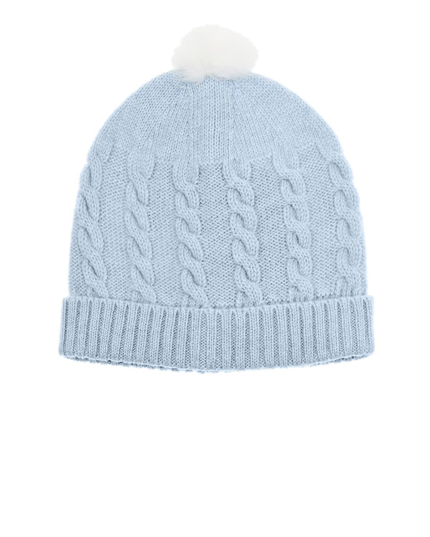 Голубая шапка из кашемира с помпоном Tomax детская фото