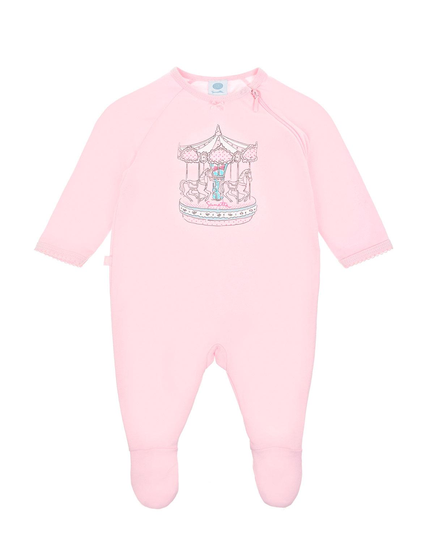 Купить Хлопковый комбинезон с принтом Карусель Sanetta детский, Розовый, 100%хлопок
