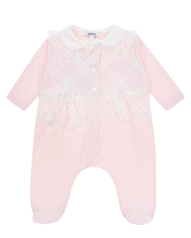 Купить Розовый комбинезон с кружевной вставкой Aletta детский, 94%хлопок+6%эластан, 100%полиэстер