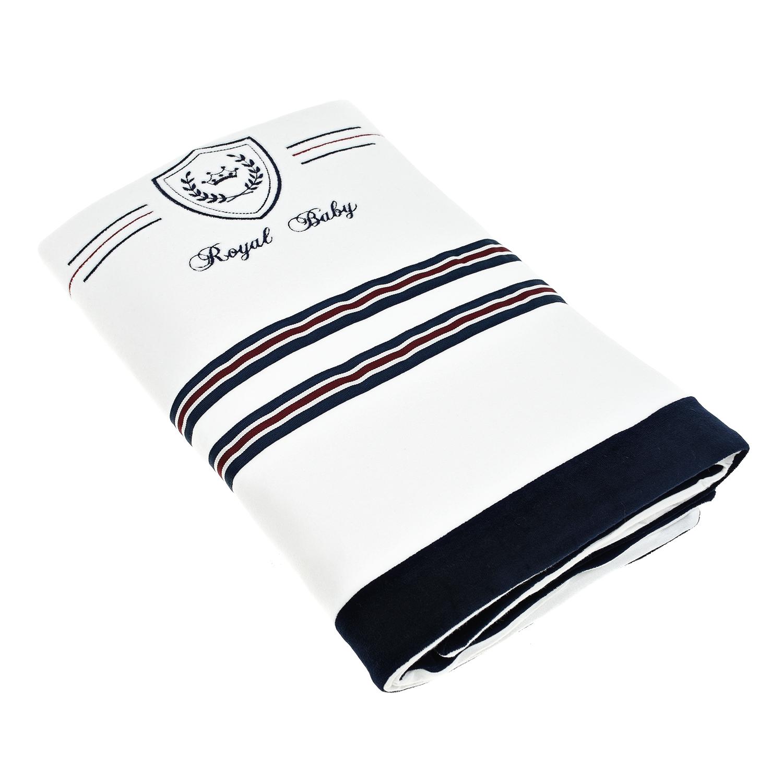 Купить Плед с полосками и вышивкой Aletta детский, Белый, 80%хлопок+20%полиамид
