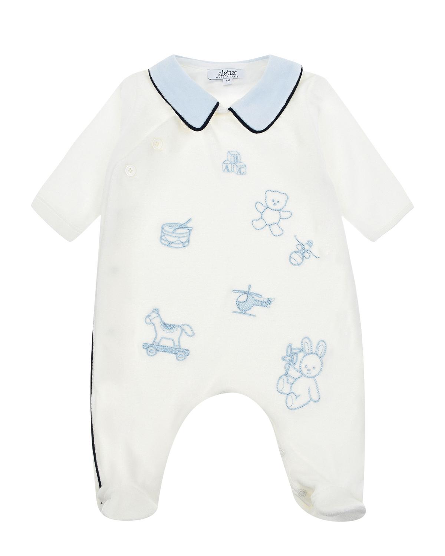 Белый комбинезон с вышивкой Aletta детский фото