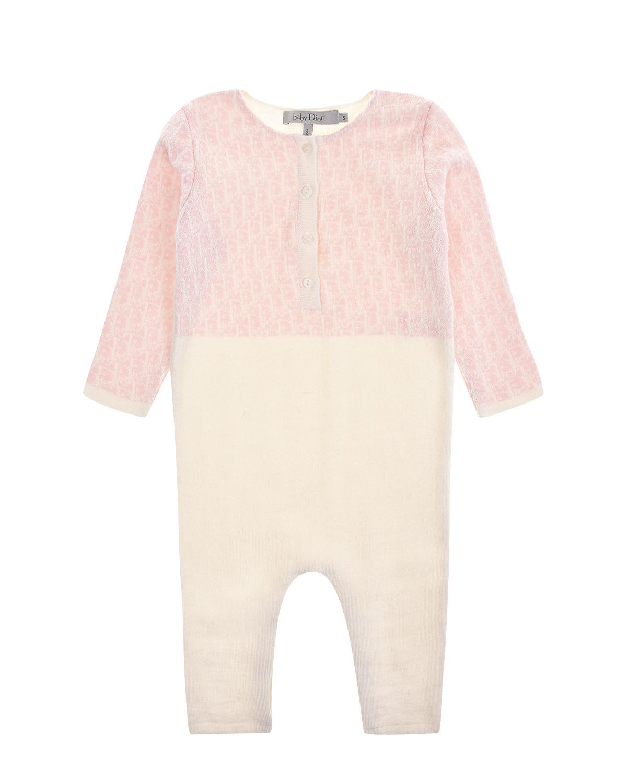 Купить Комбинезон из хлопка и кашемира Dior детский, Розовый, 88%хлопок+12%кашемир