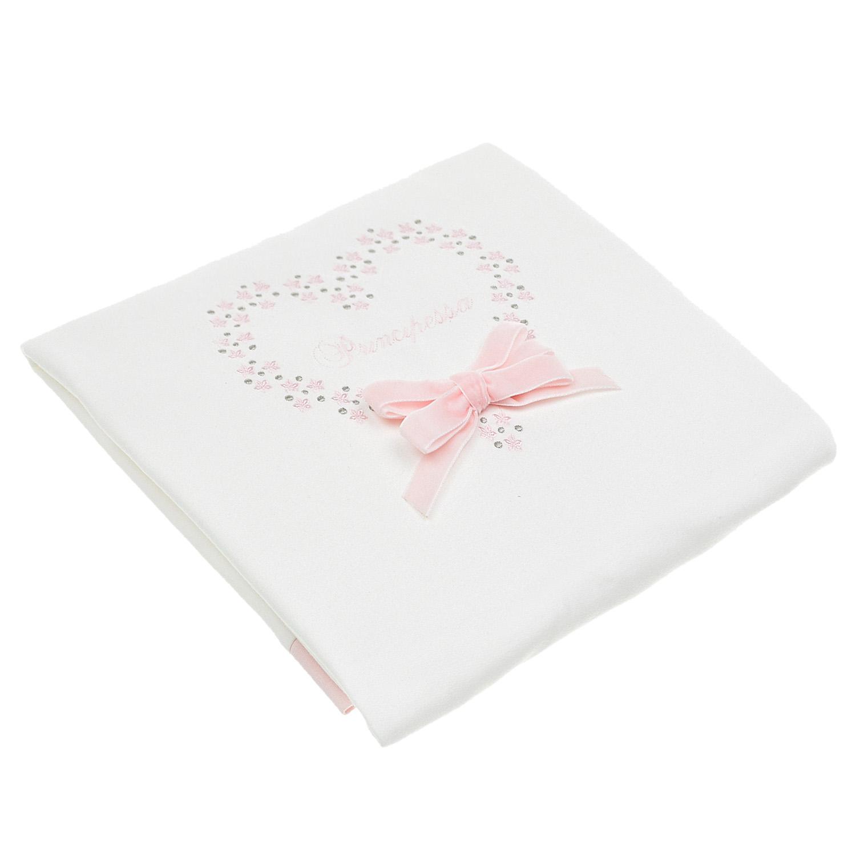 Белый плед с вышивкой и розовым бантом Aletta детский разноцветного цвета
