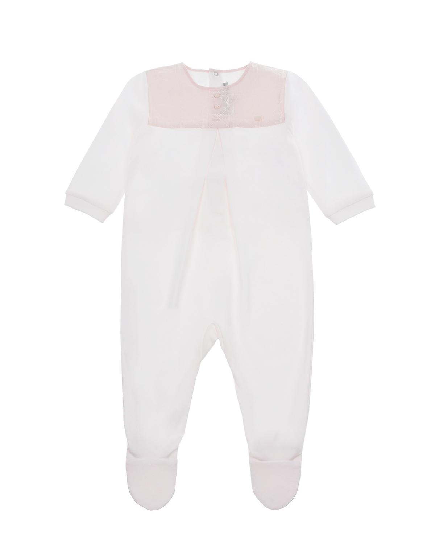 Купить Бело-розовый комбинезон с вышивкой Dior детское, Розовый, 100% хлопок, 100%полиэстер