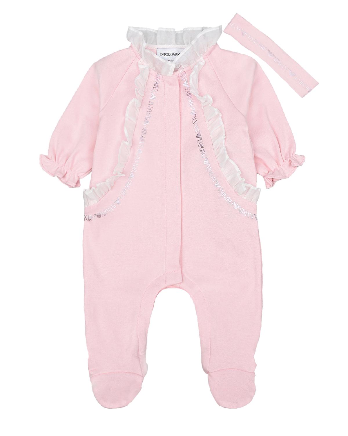 Купить Комплект из комбинезона и повязк с отделкой рюшами Emporio Armani детский, Розовый, 100%хлопок, 100%полиэстер