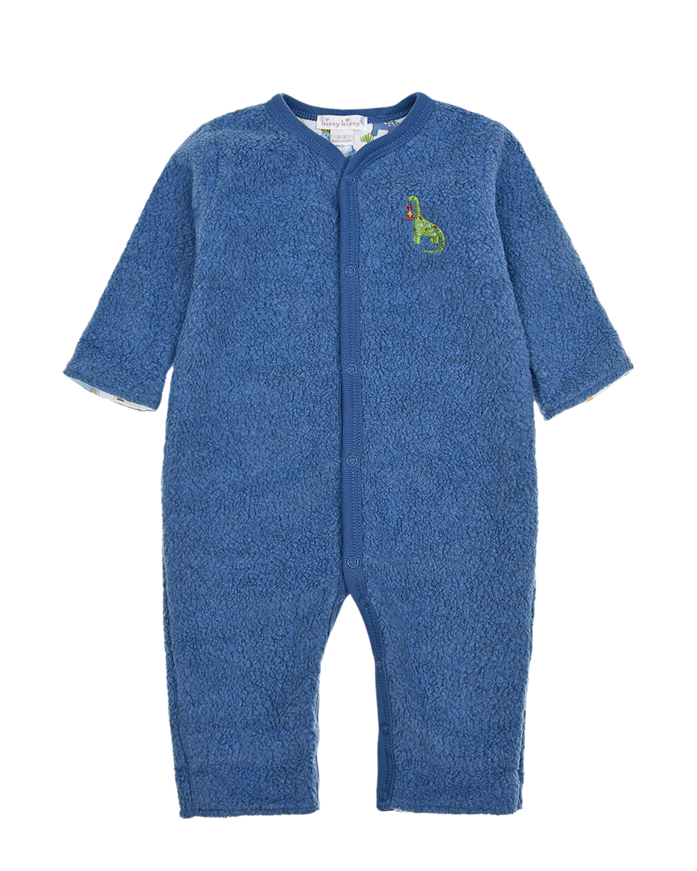 Купить Синий комбинезон с вышивкой динозаврик Kissy Kissy детский, 80%хлопок+20%полиэстер, 100%хлопок