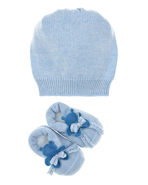 Купить Подарочный набор: шапка и пинетки с аппликацией мишка La Perla детский, Голубой, 100%шерсть