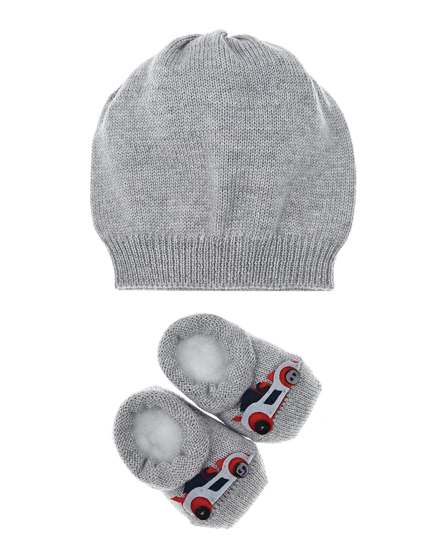 Купить Набор подарочный: шапка и пинетки с аппликацией машинки La Perla детский, Серый, 100%шерсть