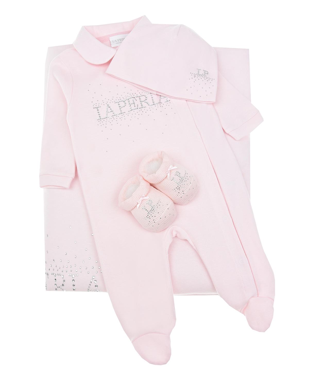 Купить Подарочный набор из 4-х деталей для девочки La Perla детский, Розовый, 100%хлопок, 100%шерсть