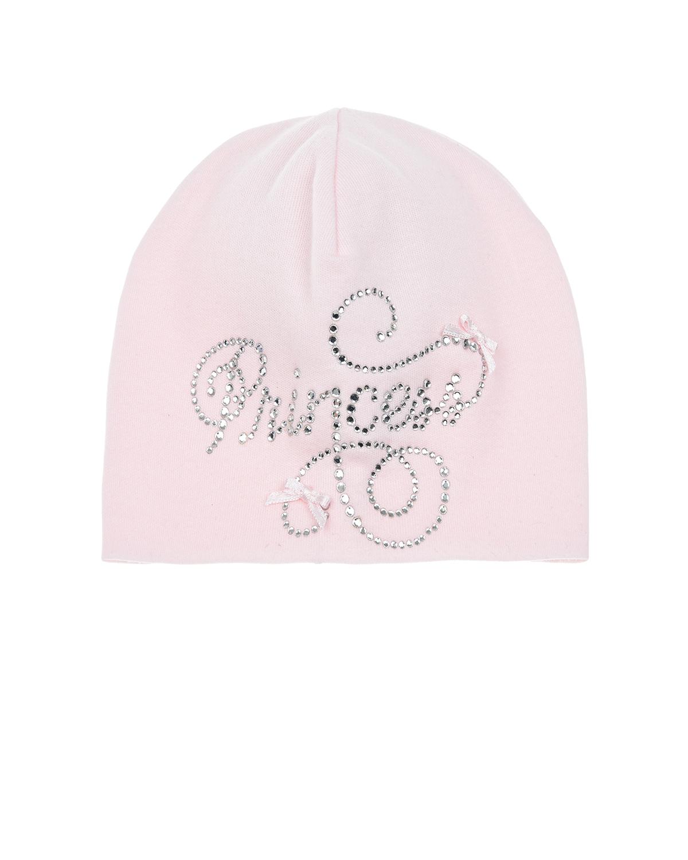 Купить Розовая шапка с надписью из страз Princess La Perla детская, Розовый, 100%хлопок