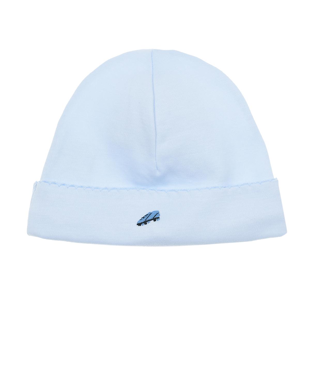 Купить Голубая шапка с нашивкой футбольная бутса Lyda Baby детская, Голубой, 100%хлопок