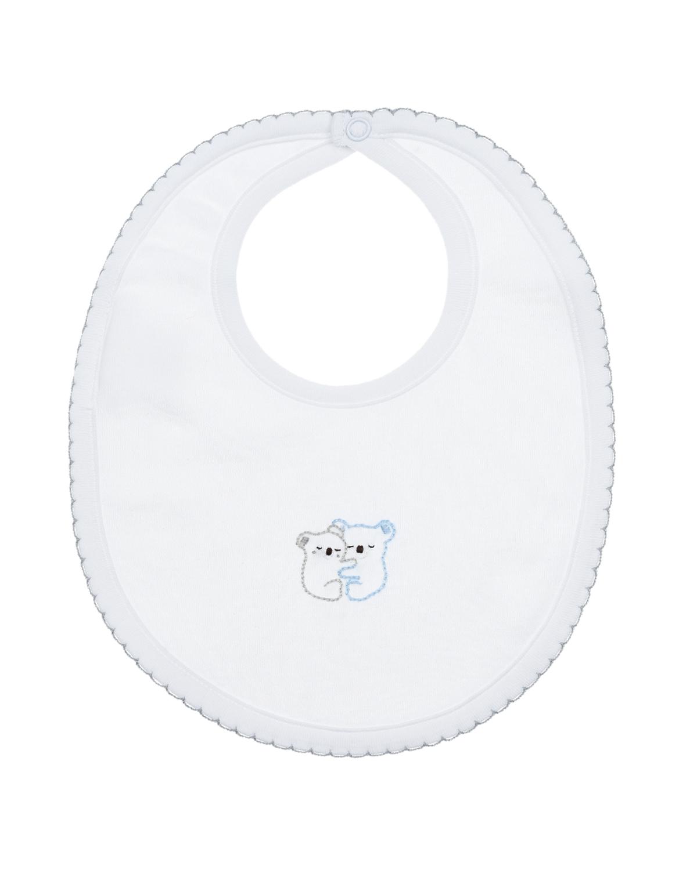 Купить Слюнявчик с вышивкой Обнимающиеся панды Lyda Baby детский, Белый, 100%хлопок