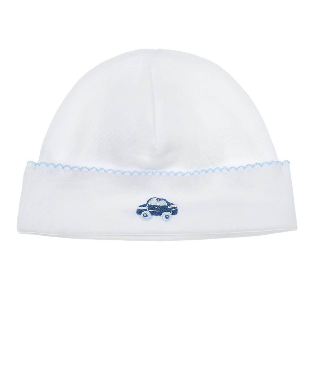 Купить Белая шапка с вышивкой машинка Lyda Baby детская, Белый, 100%хлопок