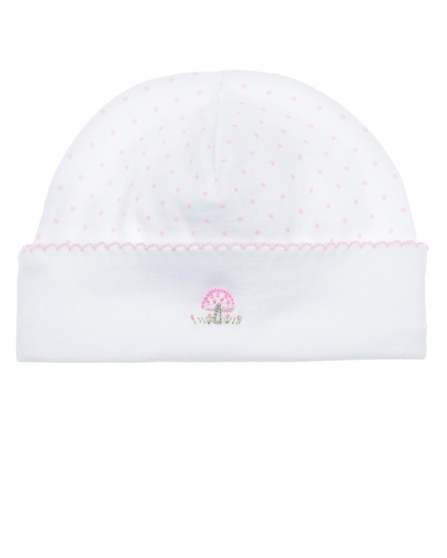 Купить Шапка с вышивкой розовый гриб Lyda Baby детская, Белый, 100%хлопок